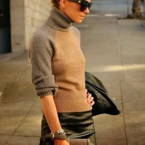 Tory Burch turtleneck sweater gray tan colorblock